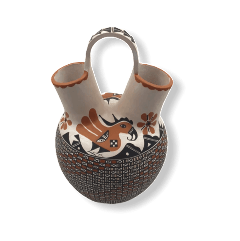 Image of Native American Pottery - Acoma Bird Wedding Vase By M. Antonio