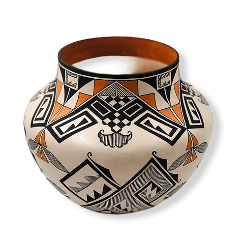 Image of Native American Pottery - Acoma Traditional Multi-Color Pot
