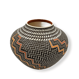 Native American Pottery - Acoma Wave Pattern Pot By Frederica Antonio