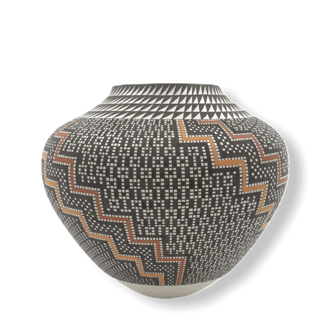Image of Native American Pottery - Acoma Wave Pattern Pot By Frederica Antonio