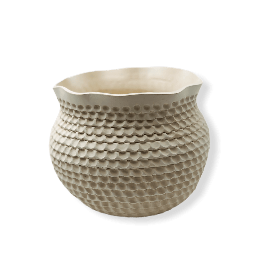 Native American Pottery - Acoma White Coiled Pot By Jackie Shutiva