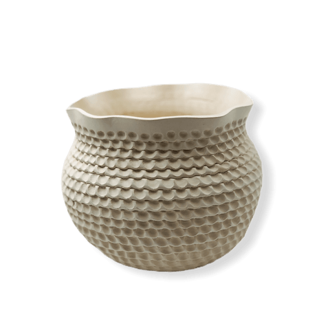 Image of Native American Pottery - Acoma White Coiled Pot By Jackie Shutiva