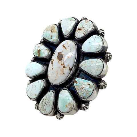 Native American Ring - Amazing Large Navajo Dry Creek Turquoise Cluster Stamped Beads Ring - Bobby Johnson - Native American