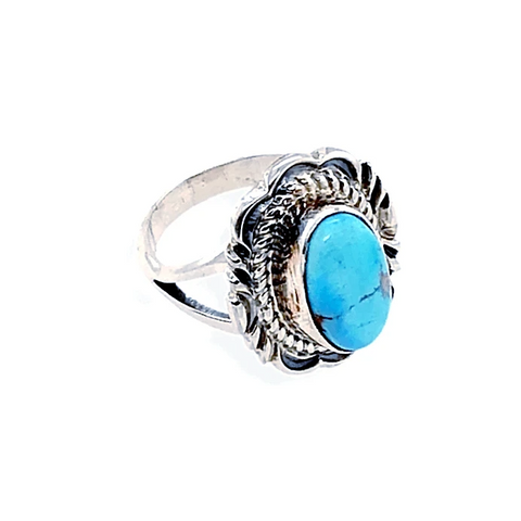 Image of Native American Ring - Kingman Turquoise Ring With Twisted Silver Details
