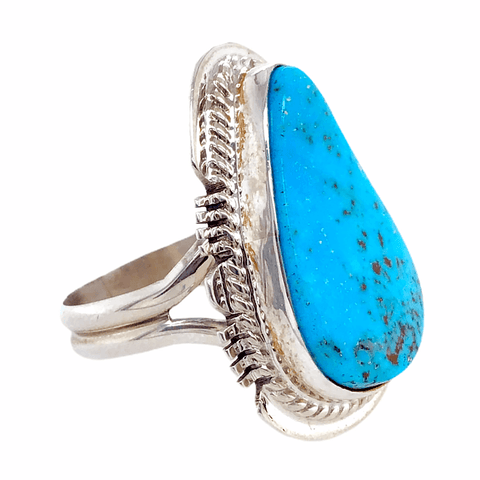 Native American Ring - Kingman Turquoise Teardrop Ring