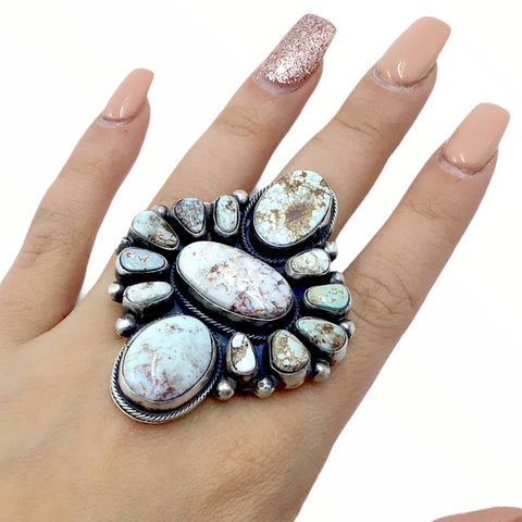 Native American Ring - Large Navajo Dry Creek Turquoise Wide Cluster Ring - Native American