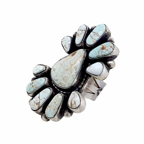 Native American Ring - Large Stunning Navajo Dry Creek Turquoise Long Cluster Ring - Bobby Johnson - Native American