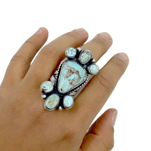 Native American Ring - Large Stunning Navajo Dry Creek Turquoise Long Triangle Cluster Ring - Bobby Johnson - Native American