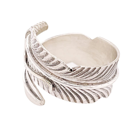 Image of Native American Ring - Navajo Adjustable Feather Wrap Around Ring - Chris Charley