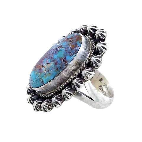 Native American Ring - Navajo Dark Dry Creek Turquoise Stamped Sterling Silver Beads Ring - Bobby Johnson - Native American