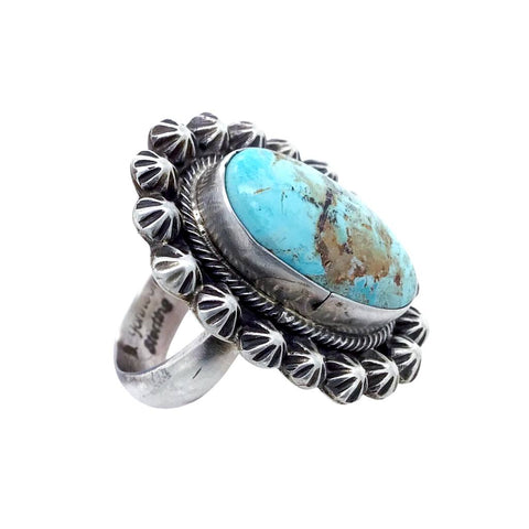 Image of Native American Ring - Navajo Dry Creek Turquoise Stamped Sterling Silver Beads Ring - Bobby Johnson - Native American