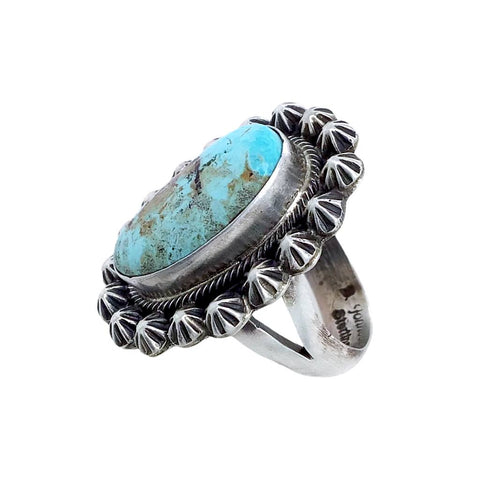 Native American Ring - Navajo Dry Creek Turquoise Stamped Sterling Silver Beads Ring - Bobby Johnson - Native American