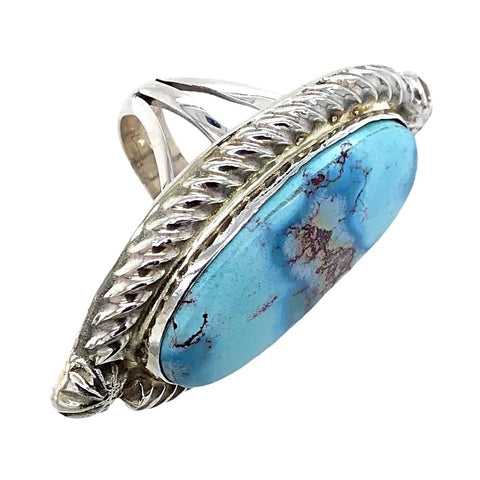 Image of Native American Ring - Navajo Embellished Golden Hills Turquoise Princess Ring - Reggie Hoskie
