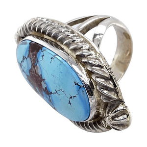 Native American Ring - Navajo Embellished Golden Hills Turquoise Princess Ring - Reggie Hoskie