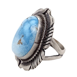 Native American Ring - Navajo Golden Hills Turquoise Embellished Ring - G. Spencer