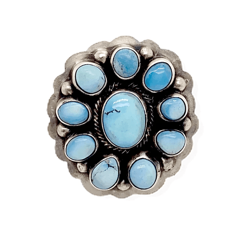 Native American Ring - Navajo Golden Hills Turquoise Flower Ring