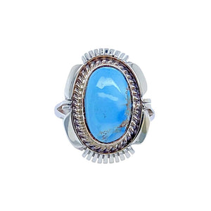 Native American Ring - Navajo Golden Hills Turquoise Sterling Silver Ring - Native American