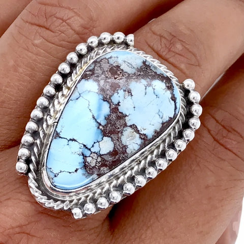 Native American Ring - Navajo Golden Hills Turquoise Teardrop Sterling Silver Ring - Peggie Hoskie - Native American