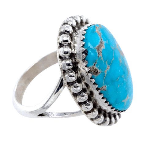 Native American Ring - Navajo Kingman Turquoise Embellished Oval Ring