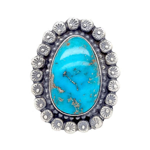 Native American Ring - Navajo Kingman Turquoise Embellished Ring - Shelia Becenti