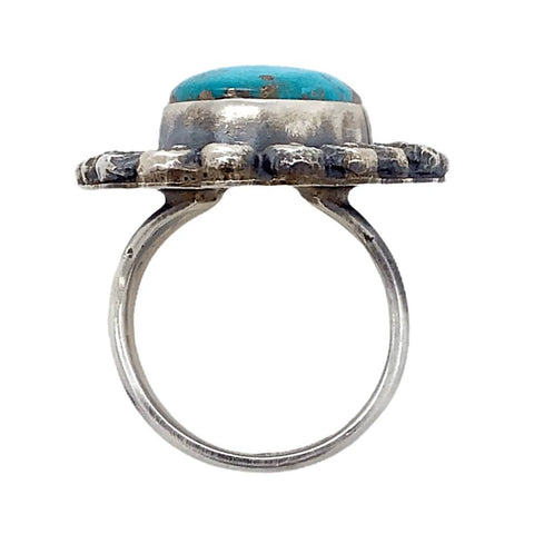 Image of Native American Ring - Navajo Kingman Turquoise Embellished Ring - Shelia Becenti
