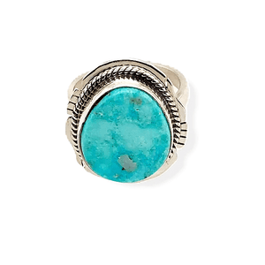 Native American Ring - Navajo Kingman Turquoise Ring With Twisted Silver And Cut Out Details