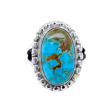 Native American Ring - Navajo Kingman Turquoise Sterling Silver Ring - Samson Edsitty - Native American