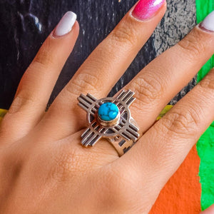 Native American Ring - Navajo Kingman Turquoise Zia Sterling Silver Ring - Native American