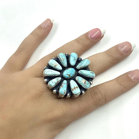 Native American Ring - Navajo Large 11-Stone Dry Creek Turquoise Cluster Sterling Silver Ring - Bea Tom - Native American