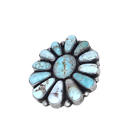 Native American Ring - Navajo Large 13-Stone Dry Creek Turquoise Cluster Sterling Silver Ring - Bea Tom - Native American