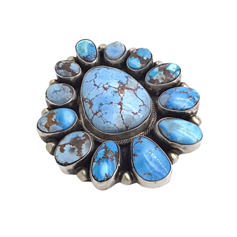 Image of Native American Ring - Navajo Large 13-Stone Golden Hills Turquoise Halo Sterling Silver Ring - Kathleen Chavez - Native American