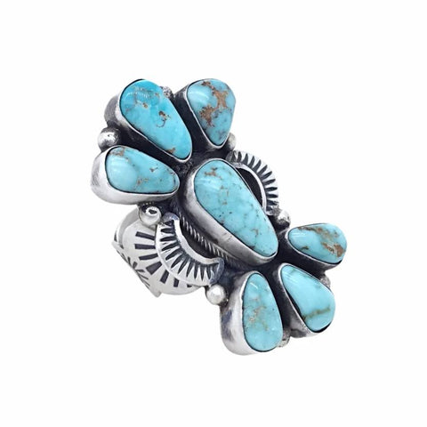 Native American Ring - Navajo Large 7-Stone Dry Creek Turquoise Cluster Hand Stamped Sterling Silver Ring - Darrin Livingston - Native American