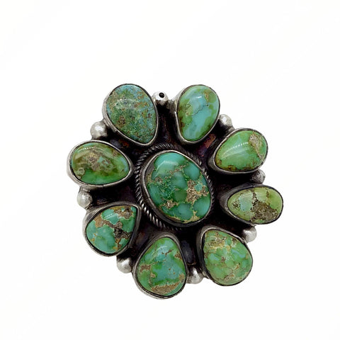 Native American Ring - Navajo Large 9-Stone Sonoran Gold Turquoise Cluster Sterling Silver Ring - Ella Peters - Native American