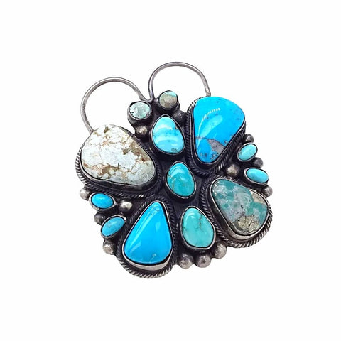 Native American Ring - Navajo Large Butterfly Dry Creek & Kingman Turquoise Cluster Sterling Silver Ring - Raymond Beard - Native American
