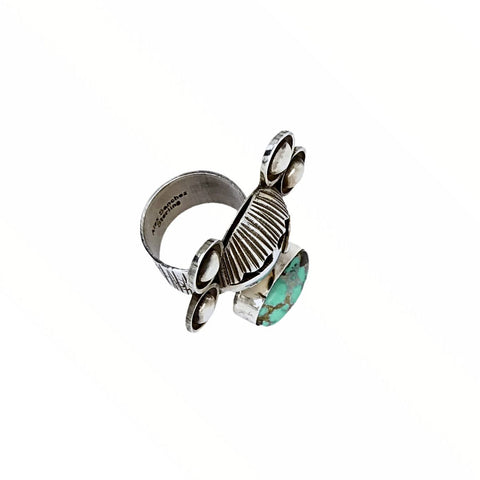 Native American Ring - Navajo Large Corn Maiden No. 8 Turquoise Sterling Silver Wide Ring - Alex Sanchez - Native American