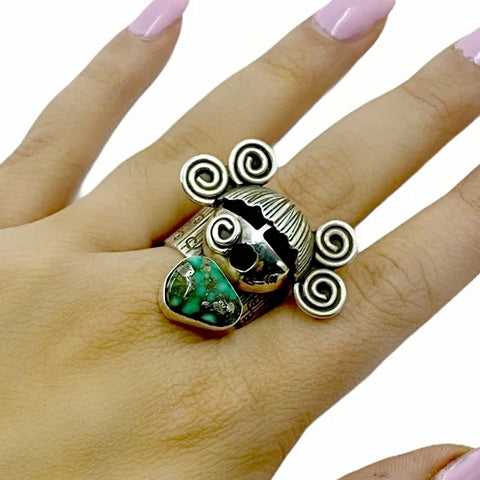 Native American Ring - Navajo Large Corn Maiden Royston Turquoise Sterling Silver Wide Ring - Alex Sanchez - Native American