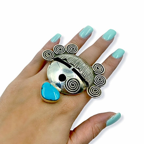 Native American Ring - Navajo Large Corn Maiden Sleeping Beauty Turquoise Sterling Silver Wide Ring - Alex Sanchez - Native American