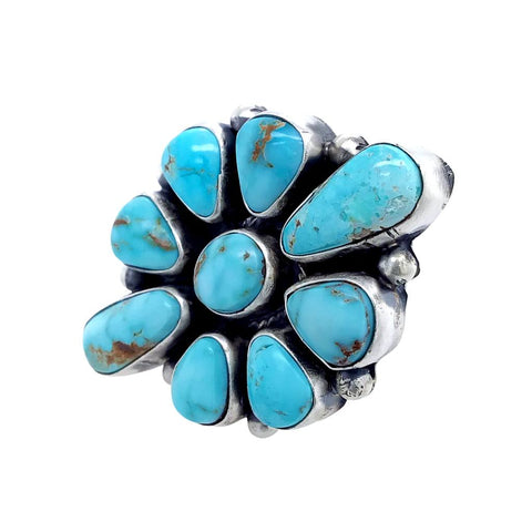 Native American Ring - Navajo Large Dry Creek Turquoise 9 Stone Cluster Sterling Silver Ring - Bea Tom - Native American