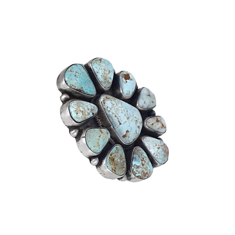 Native American Ring - Navajo Large Dry Creek Turquoise Cluster Sterling Silver Ring - Bea Tom - Native American