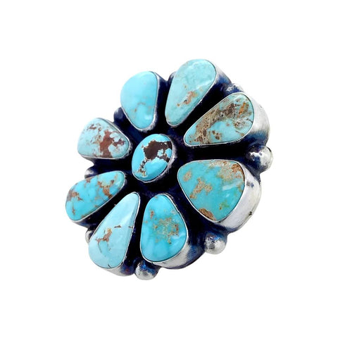 Image of Native American Ring - Navajo Large Dry Creek Turquoise Cluster Sterling Silver Ring  - Native American