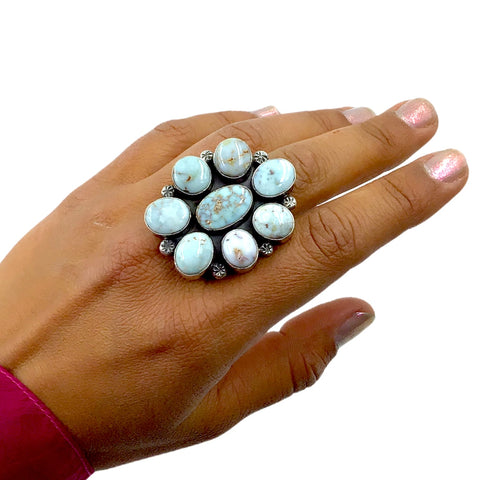 Native American Ring - Navajo Large Dry Creek Turquoise Flower Cluster Sterling Silver Ring - Mary Ann Spencer - Native American