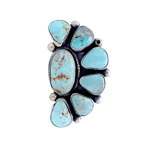 Native American Ring - Navajo Large Dry Creek Turquoise Half Cluster Sterling Silver Ring - Bea Tom - Native American