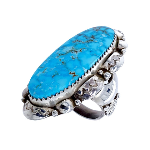 Image of Native American Ring - Navajo Large Kingman Spiderweb Turquoise Embellished Sterling Silver Ring - Native American