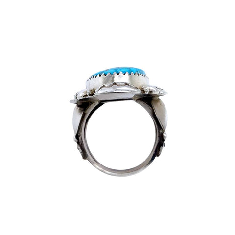 Native American Ring - Navajo Large Kingman Spiderweb Turquoise Embellished Sterling Silver Ring - Native American