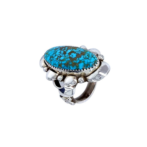 Image of Native American Ring - Navajo Large Kingman Spiderweb Turquoise Sterling Silver Ring - Native American
