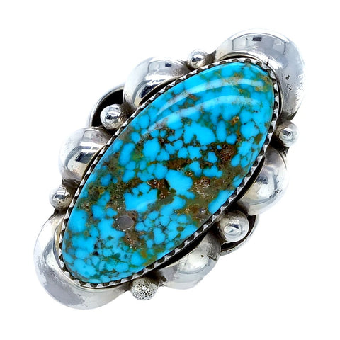 Native American Ring - Navajo Large Kingman Spiderweb Turquoise Sterling Silver Ring - Native American
