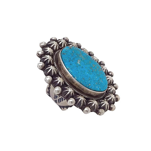 Native American Ring - Navajo Large Kingman Turquoise Sterling Silver Stamped Beads Ring - Native American