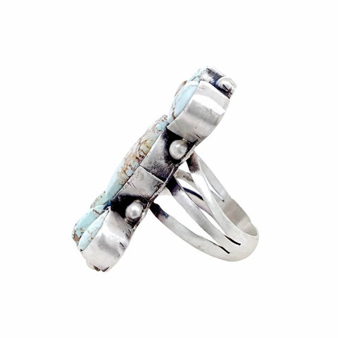 Native American Ring - Navajo Large Long Dry Creek Turquoise Cluster Sterling Silver Ring - Bea Tom - Native American