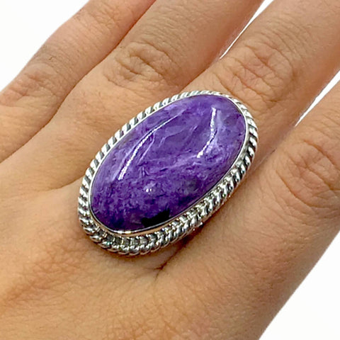 Image of Native American Ring - Navajo Large Purple Charoite Stone Oval Sterling Silver Ring - Native American