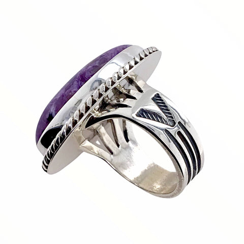 Native American Ring - Navajo Large Purple Charoite Stone Oval Sterling Silver Ring - Native American